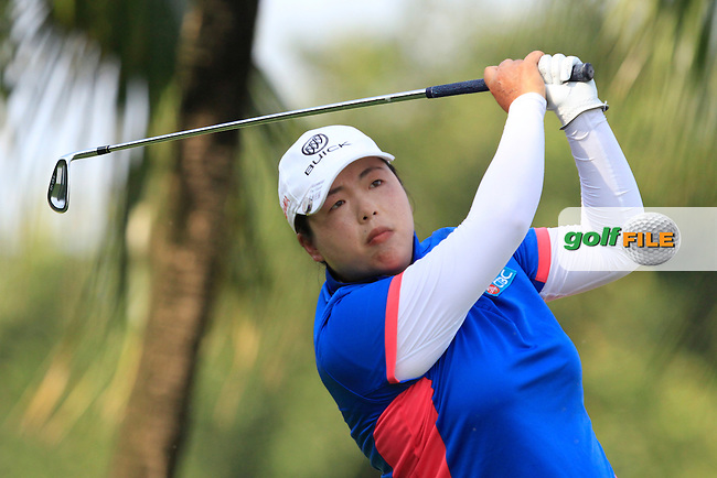 Shanshan Feng (CHN) on the 2nd tee during Round 4 of the HSBC Women's Champions at the Sentosa Golf Club, The Serapong Course in Singapore on Sunday 8th March 2015.<br /> Picture:  Thos Caffrey / www.golffile.ie