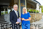 Minister for Jobs Enterprise and Innovation, Mary Mitchell-O'Connor, TD, with Mark Sullivan, Rose Hotel. Presenting her with a rose of Tralee pin on her visit to Tralee on Friday