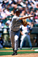 Rolando Arrojo of the Tampa Bay Devil Rays during a baseball game at Edison International Field during the 1998 season in Anaheim, California. (Larry Goren/Four Seam Images)