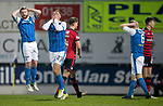St Johnstone v Dundee&hellip;30.12.17&hellip;  McDiarmid Park&hellip;  SPFL<br />Liam Gordon (centre) reacts after his shot is saved by keeper Elliot Parish<br />Picture by Graeme Hart. <br />Copyright Perthshire Picture Agency<br />Tel: 01738 623350  Mobile: 07990 594431
