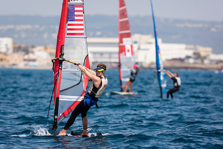 20140331, Palma de Mallorca, Spain: SOFIA TROPHY 2014 - 850 sailors from 50 countries compete at the ISAF Sailing World Cup event. RS:X W - USA1 - Farrah Hall. Photo: Mick Anderson/SAILINGPIX