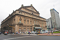 Teatro Colon opera theatre across the Avenida 9 Julio Avenue of ninth of July. Buenos Aires Argentina, South America