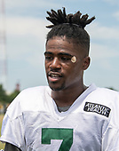 New York Jets wide receiver Tre McBride (7) is interviewed after participating in a joint training camp practice with the Washington Redskins at the Washington Redskins Bon Secours Training Facility in Richmond, Virginia on Tuesday, August 14, 2018.<br /> Credit: Ron Sachs / CNP<br /> (RESTRICTION: NO New York or New Jersey Newspapers or newspapers within a 75 mile radius of New York City)