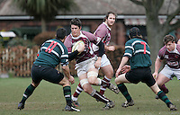 01 MAR 2008 - SCUNTHORPE, UK - Loughborough Students Dan Potgieter looks for a way through the opposition lines in the early stages of the game - Scunthorpe RUFC  v Loughborough Students RUFC. (PHOTO (C) NIGEL FARROW)