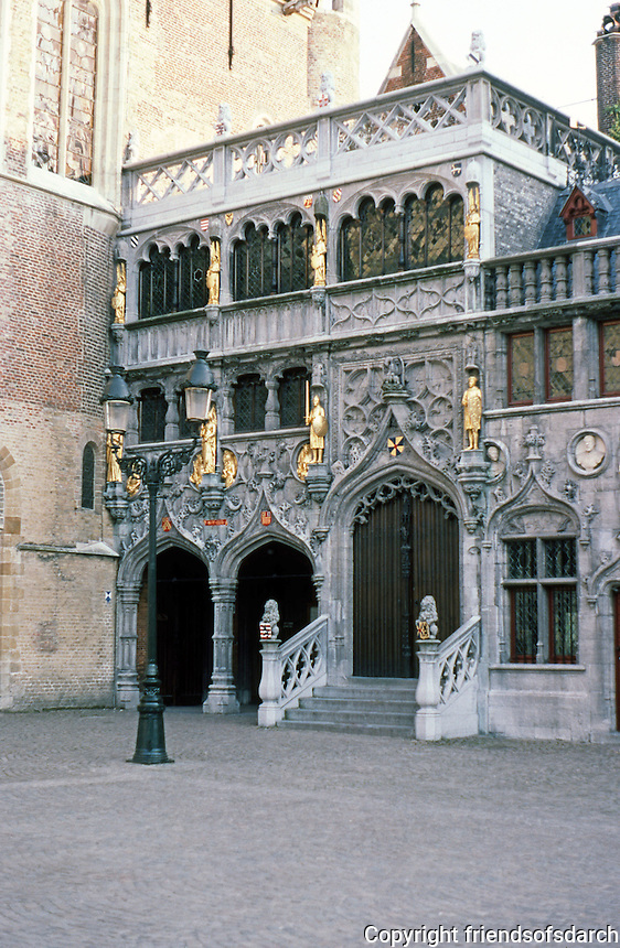 Bruges: The Burg Chapel in Neo-Gothic, 1829--adjoining Basilica of the Holy Blood. Earlier chapel destroyed in 1795.  Photo '87.
