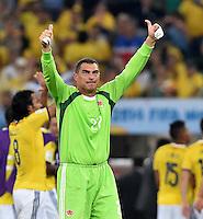 FUSSBALL WM 2014                ACHTELFINALE Kolumbien - Uruguay                  28.06.2014 Torwart Faryd Mondragon (Kolumbien) jubelt nach dem Abpfiff