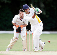 S Chavda hits out for Bessborough during the Middlesex County Cricket League Division Three game between Hornsey and Bessborough at Tivoli Road, Crouch End on Sat Aug 21, 2010.
