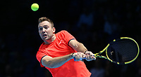 Jack Sock in action with partner Mike Bryan during their match against Pierre-Hughes Herbert and Nicolas Mahut in their doubles Final match today<br /> <br /> Photographer Rob Newell/CameraSport<br /> <br /> International Tennis - Nitto ATP World Tour Finals Day 8 - O2 Arena - London - Sunday 18th November 2018<br /> <br /> World Copyright &copy; 2018 CameraSport. All rights reserved. 43 Linden Ave. Countesthorpe. Leicester. England. LE8 5PG - Tel: +44 (0) 116 277 4147 - admin@camerasport.com - www.camerasport.com