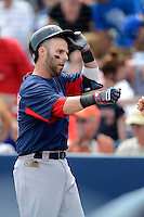 Boston Red Sox second baseman Dustin Pedroia #15 after hitting a home run during a Grapefruit League Spring Training game against the Tampa Bay Rays at Charlotte County Sports Park on February 25, 2013 in Port Charlotte, Florida.  Tampa Bay defeated Boston 6-3.  (Mike Janes/Four Seam Images)