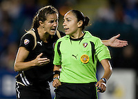 23 July 2009:  Brandi Chastain of FC Gold Pride tries to explain to referee Felicia Mariscal during the second half of the game against Los Angeles Sol at Buck Shaw Stadium in Santa Clara, California.   FC Gold Pride tied Los Angeles Sol, 0-0.