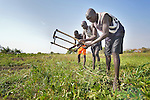 Men work preparing the soil for planting in a community garden in Mading Achueng, a village in Abyei, a contested region along the border between Sudan and South Sudan. Under a 2005 peace agreement, the region was supposed to have a referendum to decide which country it would join, but the two countries have yet to agree on who can vote. In 2011, militias aligned with Khartoum drove out most of the Dinka Ngok residents, pushing them across a river into the town of Agok. Yet more than 40,000 Dinka Ngok have since returned with support from Caritas South Sudan, which has drilled wells, built houses, opened clinics and provided seeds and tools for the returnees.