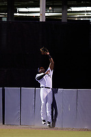 Tampa Yankees right fielder Jhalan Jackson (38) leaps to try to catch a fly ball at the fence during a game against the Lakeland Flying Tigers on April 7, 2017 at George M. Steinbrenner Field in Tampa, Florida.  Lakeland defeated Tampa 5-0.  (Mike Janes/Four Seam Images)