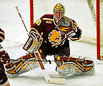 3 January 2009: Ferris State Bulldogs' goaltender Pat Nagle, a Sophomore from Bloomfield, MI, in action against the Colgate Raiders during the consolation game of the 2009 Catamount Cup Ice Hockey Tournament hosted by the University of Vermont at Gutterson Fieldhouse in Burlington, Vermont. The two teams battled to a 3-3 draw, with the Bulldogs winning a post-game shootout 2-1, thus placing them third in the tournament...Mandatory Photo Credit: Ed Wolfstein Photo