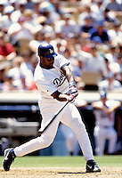 Charles Johnson of the Los Angeles Dodgers participates in a Major League Baseball game at Dodger Stadium during the 1998 season in Los Angeles, California. (Larry Goren/Four Seam Images)