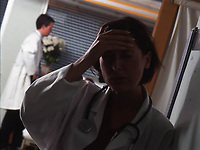 A hospital doctor showing the signs of strain due to stressful workloads. Date: 31.10.2005. <br />