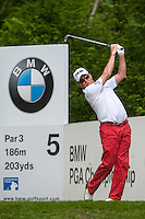 23.05.2015. Wentworth, England. BMW PGA Golf Championship. Round 3.  Miguel Angel Jimenez [ESP] tee shot 5th hole, during the third round of the 2015 BMW PGA Championship from The West Course Wentworth Golf Club