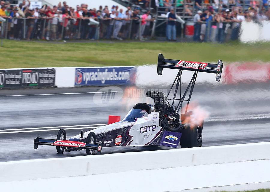 May 31, 2014; Englishtown, NJ, USA; NHRA top fuel driver Leah Pritchett during qualifying for the Summernationals at Raceway Park. Mandatory Credit: Mark J. Rebilas-