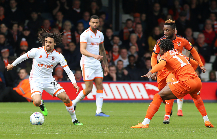 Blackpool's Nya Kirby tries to find a way past Luton Town's Pelly Ruddock<br /> <br /> Photographer David Shipman/CameraSport<br /> <br /> The EFL Sky Bet League One - Luton Town v Blackpool - Saturday 6th April 2019 - Kenilworth Road - Luton<br /> <br /> World Copyright © 2019 CameraSport. All rights reserved. 43 Linden Ave. Countesthorpe. Leicester. England. LE8 5PG - Tel: +44 (0) 116 277 4147 - admin@camerasport.com - www.camerasport.com