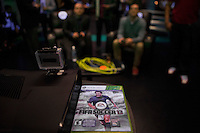 "People enjoy an electronic game while they attend an event organized by MLB and EA Sports for launching the last soccer game named ""FIFA Soccer 13"" in New York . Photo by Eduardo Munoz Alvarez / VIEW."