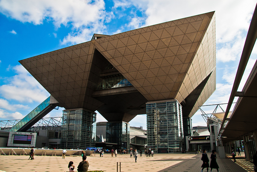 Tokyo Big Site exhibition hall has a very distinctive Futuristic design.
