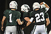 Locust Valley teammates celebrate after a touchdown by No. 22 Tom Talenti in the fourth quarter of a Nassau County varsity football Conference IV semifinal against West Hempstead at Hofstra University on Thursday, Nov. 12, 2015. Locust Valley won 34-10.<br /> <br /> James Escher