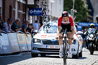 Tim Wellens (BEL/Lotto Soudal) puts down a great performance and ultimatly wins the stage. <br /> <br /> Baloise Belgium Tour 2019<br /> Stage 3: ITT Grimbergen – Grimbergen 9.2km<br /> ©kramon