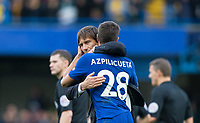 Chelsea manager Antonio Conte with goal scorer Cesar Azpilicueta of Chelsea during the Premier League match between Chelsea and Watford at Stamford Bridge, London, England on 21 October 2017. Photo by Andy Rowland.