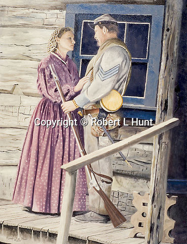 "A Confederate infantryman says good bye to his wife before returning to fight in the American Civil War. Oil on canvas, 26"" x 20""."