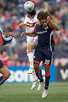 Chicago Fire midfielder Marco Pappa (16) and New England Revolution defender Kevin Alston (30) battle for head ball. The New England Revolution out scored the Chicago Fire, 2-1, in Game 1 of the Eastern Conference Semifinal Series at Gillette Stadium on November 1, 2009.