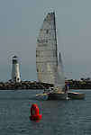 Catamaran and Walton Lighthouse in Santa Cruz Harb or
