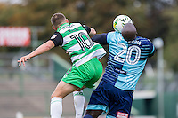 Adebayo Akinfenwa of Wycombe Wanderers wins and controls a ball away from Otis Khan of Yeovil Town during the Sky Bet League 2 match between Yeovil Town and Wycombe Wanderers at Huish Park, Yeovil, England on 8 October 2016. Photo by Mark  Hawkins / PRiME Media Images.