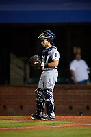 Pensacola Blue Wahoos catcher Adrian Nieto (17) during a game against the Mobile BayBears on April 25, 2017 at Hank Aaron Stadium in Mobile, Alabama.  Mobile defeated Pensacola 3-0.  (Mike Janes/Four Seam Images)