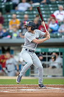 Brad Miller (4) of the Scranton/Wilkes-Barre RailRiders at bat at Victory Field on May 14, 2019 in Indianapolis, Indiana. The Indians defeated the RailRiders 4-2. (Andrew Woolley/Four Seam Images)
