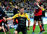 Wes Goosen celebrates his try during the Super Rugby match between the Hurricanes and Crusaders at Westpac Stadium in Wellington, New Zealand on Saturday, 15 July 2017. Photo: Dave Lintott / lintottphoto.co.nz