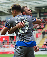 Lincoln City's Tyler Walker, left, celebrates scoring the opening goal with team-mate Neal Eardley<br /> <br /> Photographer Chris Vaughan/CameraSport<br /> <br /> The EFL Sky Bet Championship - Rotherham United v Lincoln City - Saturday 10th August 2019 - New York Stadium - Rotherham<br /> <br /> World Copyright © 2019 CameraSport. All rights reserved. 43 Linden Ave. Countesthorpe. Leicester. England. LE8 5PG - Tel: +44 (0) 116 277 4147 - admin@camerasport.com - www.camerasport.com
