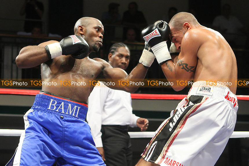 Bradley Pryce (white shorts) defeats Ted Bami in a Welterweight boxing contest at York Hall, Bethnal Green, promoted by Matchroom Sports / Barry Hearn - 09/07/10 - MANDATORY CREDIT: Gavin Ellis/TGSPHOTO - Self billing applies where appropriate - Tel: 0845 094 6026
