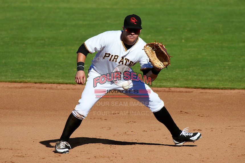 Scottsdale Scorpions first baseman Matt Curry #16, of the Pittsburgh Pirates organization, during an Arizona Fall League game against the Surprise Saguaros at Scottsdale Stadium on October 16, 2012 in Scottsdale, Arizona.  Surprise defeated Scottsdale 11-3.  (Mike Janes/Four Seam Images)