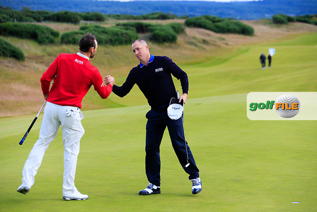 Oliver Wilson (ENG) and Alex Noren (SWE) during round 2 of the Aberdeen Asset Management Scottish Open 2016, Castle Stuart  Golf links, Inverness, Scotland. 08/07/2016.<br /> Picture Fran Caffrey / Golffile.ie<br /> <br /> All photo usage must carry mandatory copyright credit (&copy; Golffile | Fran Caffrey)