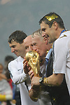 15/07/2018, Luzhniki stadium, Moscow, Russia; FIFA World Cup Russia 2018, Final Football Match France versus Croatia, France is the new World Champion. France won the World Cup for the second time 4-2 against Croatia. Didier Deschamps, France coach kiss the Trophy
