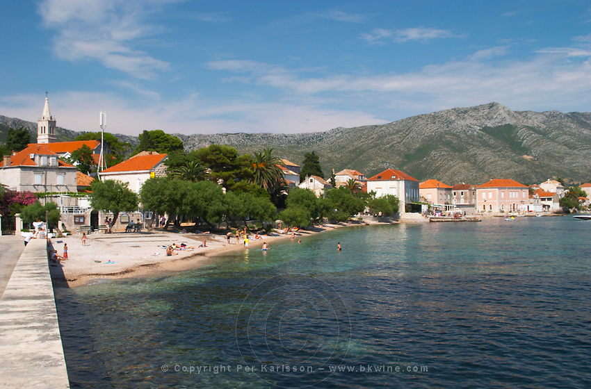 The beach with swimmers and sun bathers with the village and mountains in the background. Mount Sveti Ilija mountain. Orebic town, holiday resort on the south coast of the Peljesac peninsula. Orebic town. Peljesac peninsula. Dalmatian Coast, Croatia, Europe.