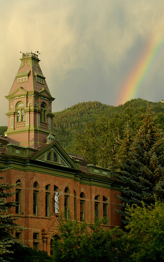 Pitkin County Courthouse in Aspen, Colorado, with rainbow. © Michael Brands. 970-379-1885.