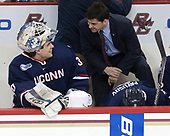 Adam Huska (UConn - 30), Joe Pereira (UConn - Assistant Coach) - The Boston College Eagles defeated the visiting UConn Huskies 2-1 on Tuesday, January 24, 2017, at Kelley Rink in Conte Forum in Chestnut Hill, Massachusetts.