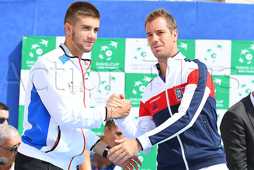 15.09.2016. Zadar, Croatia. Davis Cup tennis. Croatia versus France, meeting and training.  Richard Gasquet and Borna Coric