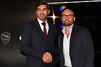 AS Roma new coach Paulo Fonseca and AS Roma Sport Director Gianluca Petrachi shakes hands before the press conference. <br /> Roma 08/07/2019 Centro Sportivo Trigoria <br /> Press Conference <br /> Football Calcio Serie A 2019/2020 <br /> Photo Andrea Staccioli / Insidefoto