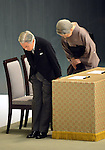 August 15, 2012, Tokyo, Japan - Japan's Emperor Akihito and Empress Michiko offer their prayers to the war dead during a ceremony marking the 67th anniversary of the end of World War II at Tokyo's Budokan Martial Arts Hall on Wednesday, August 15, 2012. (Photo by Natsuki Sakai/AFLO) AYF -mis-