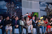 KIGALI, RWANDA NOVEMBER 7: People watch a fashion show with designer Yvette Kaneza from Burundi during the gala night at Kigali Fashion week on November 7, 2014 held at Kigali City Towers in Kigali, Rwanda. Designers and from Rwanda, Burundi and Uganda showed their latest collections at the yearly event. The event was held at a parking lot at a popular shopping mall in Kigali. (Photo by: Per-Anders Pettersson)
