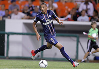 WASHINGTON, DC - July 28, 2012:  Guillaume Hoarau (9) of PSG (Paris Saint-Germain) in an international friendly match against DC United at RFK Stadium in Washington DC on July 28. The game ended in a 1-1 tie.