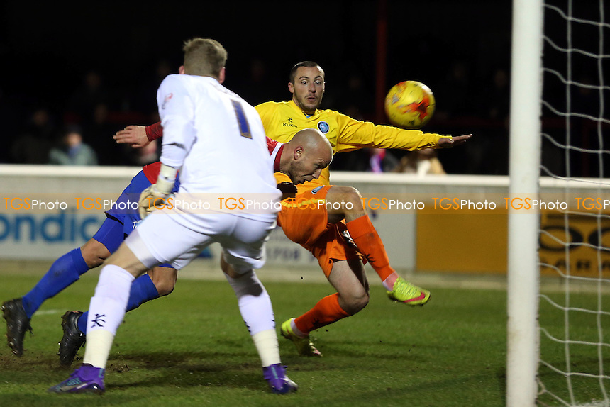 Luke Guttridge of Dagenham and Redbridge scores the opening Daggers goal during Dagenham and Redbridge vs Wycombe Wanderers, Sky Bet League 2 Football at the Chigwell Construction Stadium