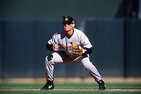 SAN FRANCISCO, CA - Craig Biggio of the Houston Astros plays defense at second base during a game against the San Francisco Giants at Pacific Bell Park in San Francisco, California in 2001. Photo by Brad Mangin
