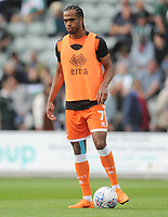 Blackpool's Nathan Delfouneso during the pre-match warm-up <br /> <br /> Photographer Kevin Barnes/CameraSport<br /> <br /> The EFL Sky Bet League One - Plymouth Argyle v Blackpool - Saturday 15th September 2018 - Home Park - Plymouth<br /> <br /> World Copyright &copy; 2018 CameraSport. All rights reserved. 43 Linden Ave. Countesthorpe. Leicester. England. LE8 5PG - Tel: +44 (0) 116 277 4147 - admin@camerasport.com - www.camerasport.com